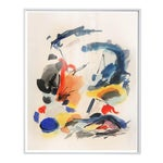Abstract Large Framed Mid-Century Modern Painting