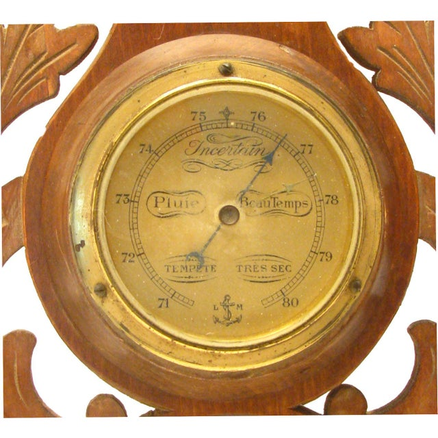 French Brass & Carved Wood Barometer For Sale - Image 4 of 4