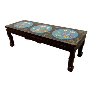 Vintage Cloisonne and Black Lacquer Handpainted Coffee Table For Sale