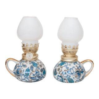 1950s Vintage Japanese Porcelain Oil Lamps - a Pair For Sale