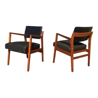 Mid Century Modern Jens Risom Style Walnut and Leather Arm Chairs - a Pair For Sale