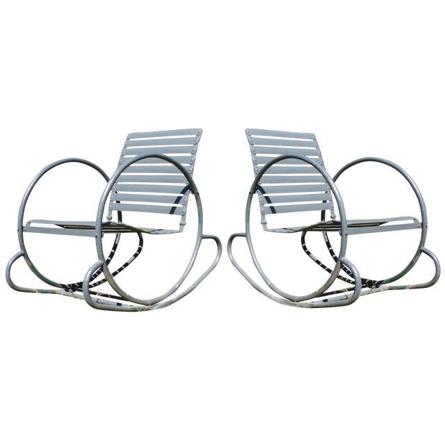 Art Deco Patio Metal Hoop Rocking Chairs - A Pair - Image 1 of 10