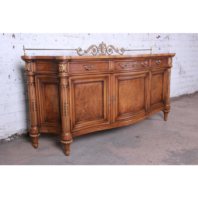 Karges Furniture Karges French Louis XVI Style Walnut and Burl Wood Sideboard / Bar Cabinet For Sale - Image 4 of 13