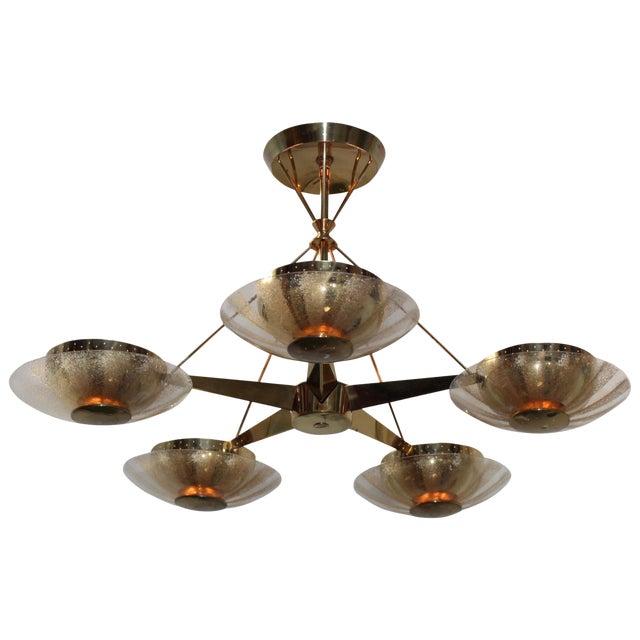 Gerald Thurston for Lightolier Brass and Glass Chandelier For Sale