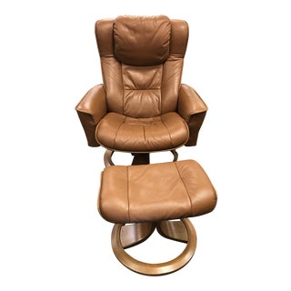 Eames Style Brown Leather Lounge Chair With Foot Stool