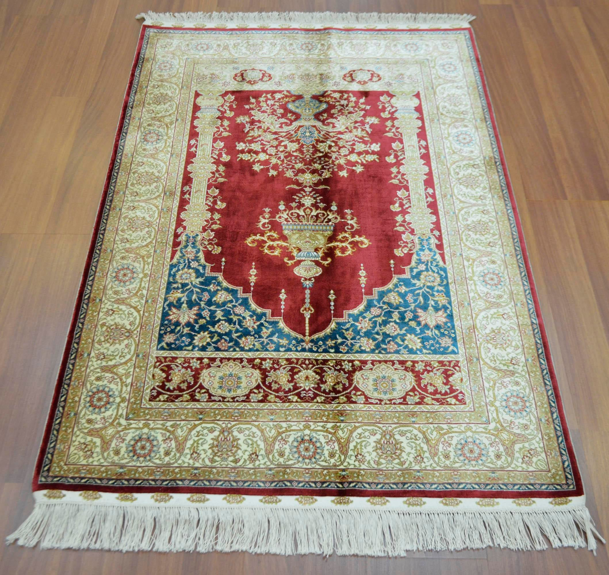What Makes Turkish Rugs Great How You Can Read The Design Of A Turkish Rug: Hand Knotted Turkish Silk Rug - 3′1″ × 4′5″