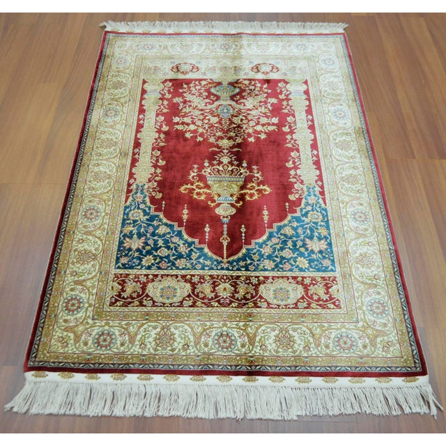 Hand Knotted Turkish Silk Rug - 3′1″ × 4′5″ - Image 4 of 9