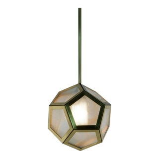 Contemporary Brass Black Leather and Industrial Glass Hanging Pentagon Lantern For Sale