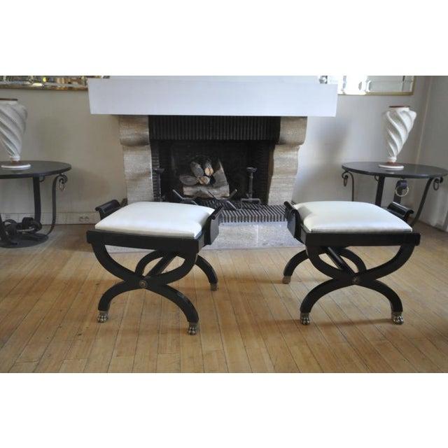 Maison Jansen Maison Jansen Superb Pair of X Black Stool With Lion Legs For Sale - Image 4 of 7