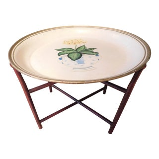 Vintage Floral Tole Coffee Side Tray Table For Sale