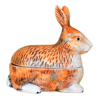 1970s French Providence Faiance Rabbit Pate Tureen