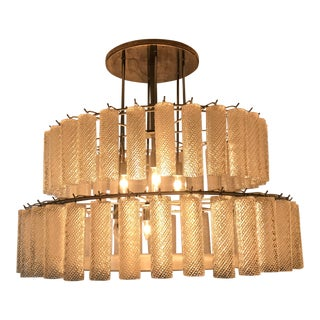 Venetian 2-Tier Patterned Glass Tube Chandelier, Vintage For Sale