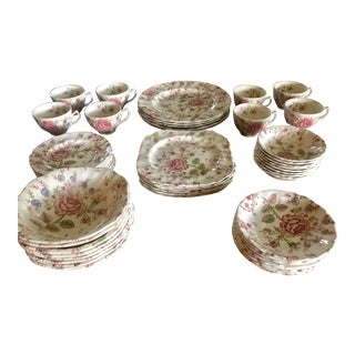 1940s Rose Chintz China by Johnson Brothers - Set of 49 For Sale