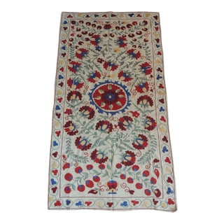 """Vintage Colorful Floral Embroidery """"Suzani"""" Panel For Sale"""