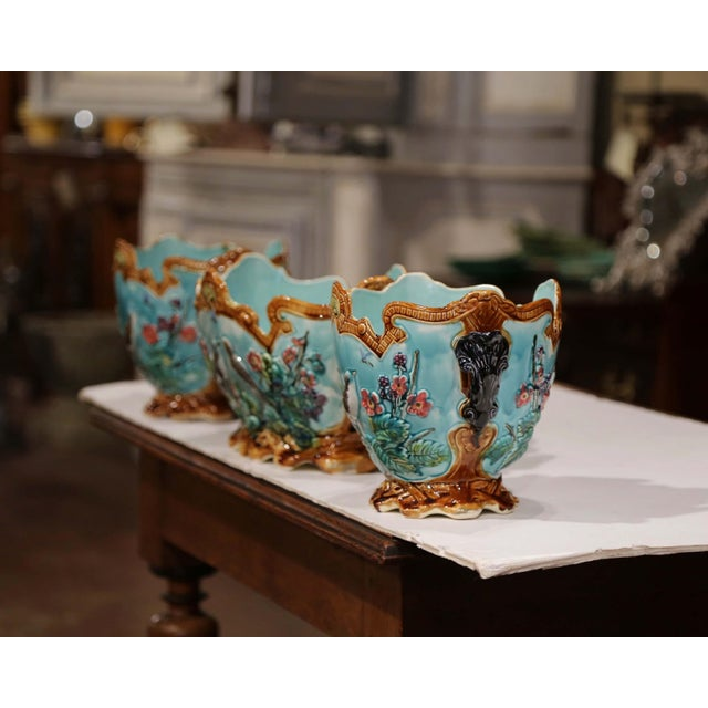 19th Century French Hand Painted Barbotine Cachepots With Bird and Flower Decor For Sale - Image 11 of 13