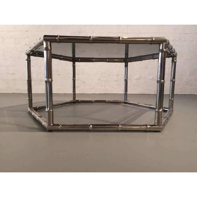 Faux Bamboo Nickel and Smoked Glass Cocktail Table by Mastercraft For Sale In Palm Springs - Image 6 of 8