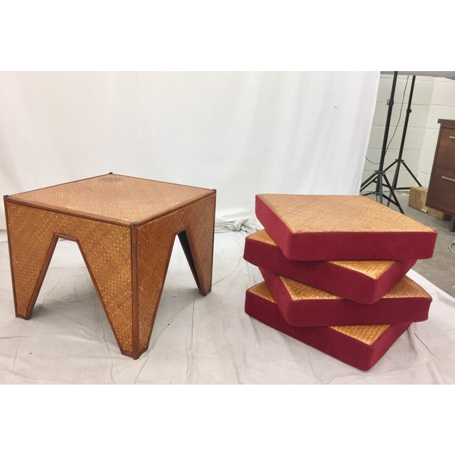 Vintage Woven Side Table & Stacking Ottomans - Set of 5 - Image 2 of 7