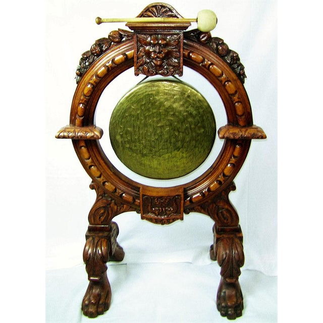 Gold Early 19th Century French Provincial Dinner Gong, Large, Heavily Carved Oak and Brass For Sale - Image 8 of 8