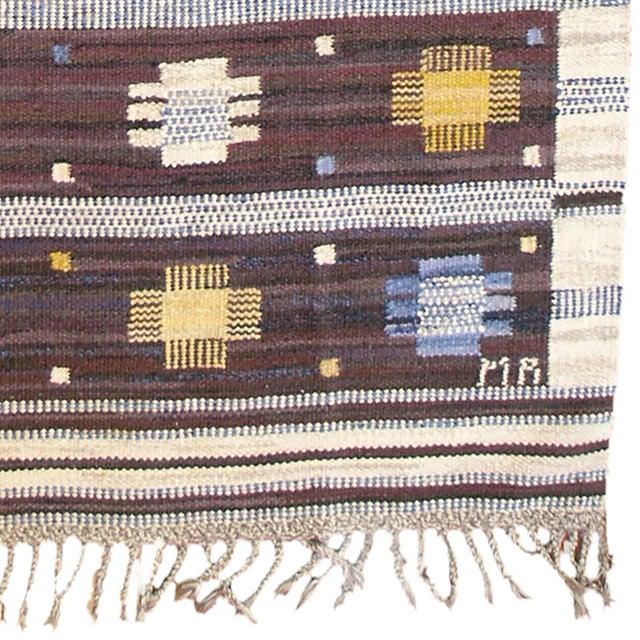 Mid-Century Modern Mid 20th Century Swedish Flat Weave Rug For Sale - Image 3 of 5