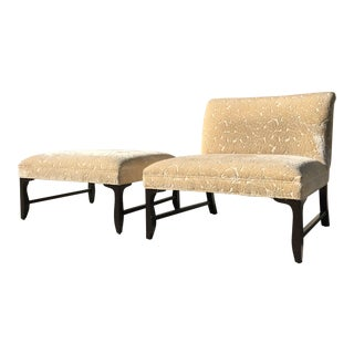 Modern Thomas Pheasant for Baker Oversized Lounge Chair and Ottoman For Sale