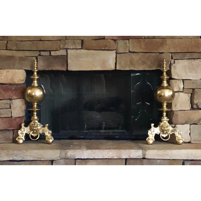 This is for a wonderful pair of Solid Brass Andirons / Chenets / FireDogs that are so unique and stately. They have a...