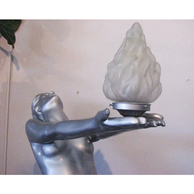 """6 Foot Art Deco """"Clarte"""" Biba Nude Floor Lamp in the Style of Max Le Verrier For Sale In Los Angeles - Image 6 of 9"""