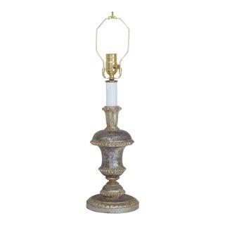 Vintage Italian Carved Silver Leaf Lamp For Sale