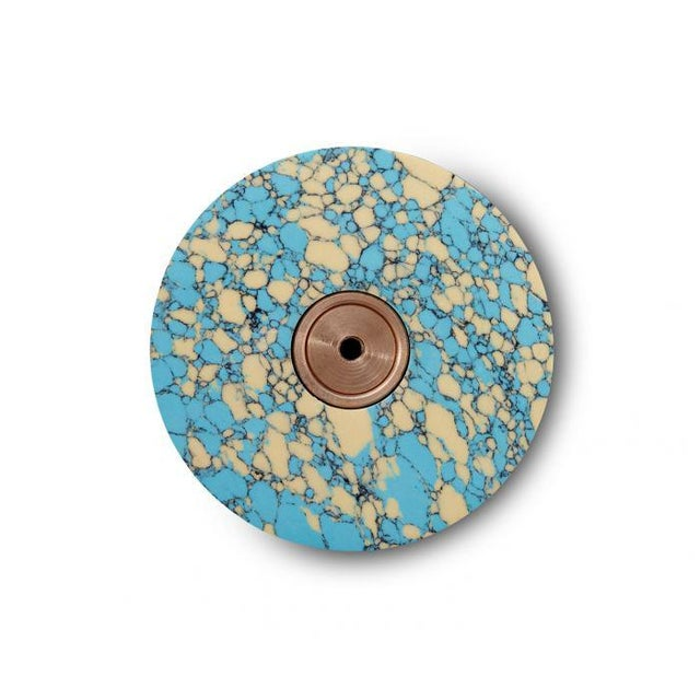 Abstract Tom Dixon Blue and Cream Swirl Dumbbell Hook For Sale - Image 3 of 7