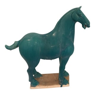 Figurative Turquoise Ceramic War Horse Figurine For Sale