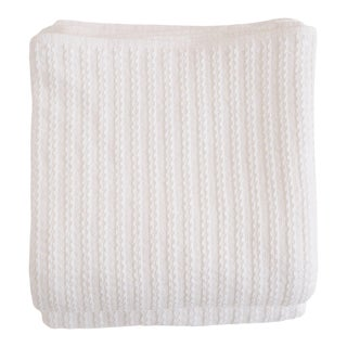 Cableknit Blanket in White, Twin For Sale