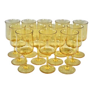 Vintage Yellow Wine Glasses - Set of 12 For Sale