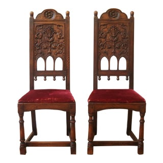 Vintage Carved Oak Hall Chairs, Jamestown Lounge Company, Ny, 1930s. - a Pair For Sale
