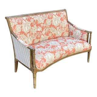 Late 20th Century Vintage Regency Styled Upholstered Settee For Sale