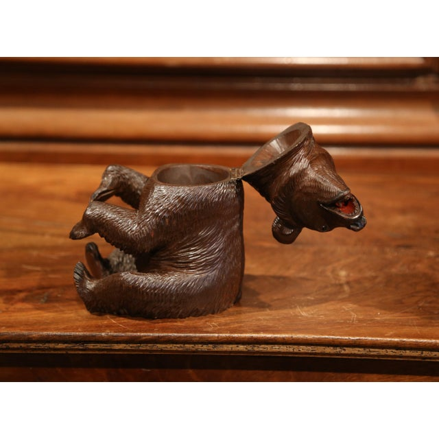 Brown 19th Century Swiss Carved Black Forest Tobacco Bear Sculpture With Glass Eyes For Sale - Image 8 of 11