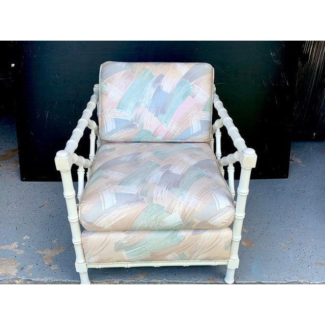 Mid-Century Modern 1970s White Lacquer Faux Bamboo Club Chair, Attributed to McGuire For Sale - Image 3 of 7