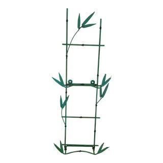 Vintage Green Painted Metal Bamboo Wall Shelf For Sale