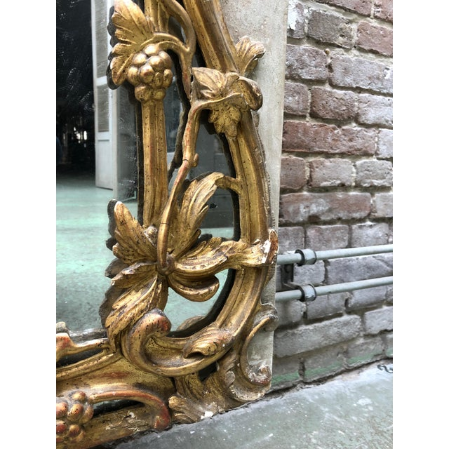 Beautiful French 18th Century Gilt Wood Trumeau Louis XV For Sale - Image 4 of 11