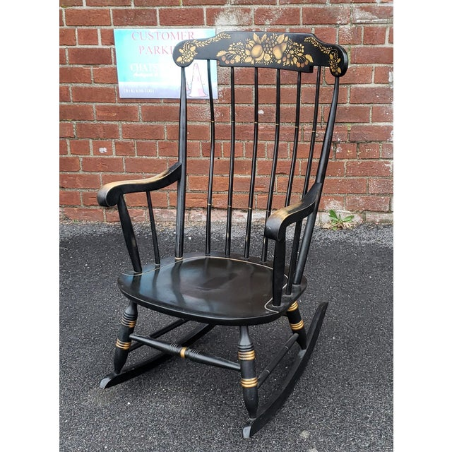 Vintage 1970s Black Hitchcock Style Painted Nichols & Stone Co. Rocking Chair Rocker For Sale In New York - Image 6 of 11