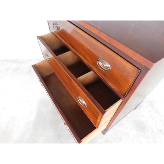 Features Fine Quality Solid Construction - 3 Dovetailed Drawers, Brass Hardware, Approx 60 years old Good Vintage...