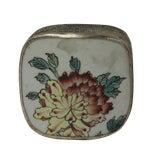 Image of Chinese Floral Porcelain Nickel Trinket Box For Sale