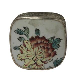 Chinese Floral Porcelain Nickel Trinket Box For Sale
