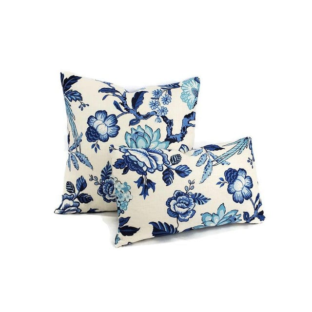 """Contemporary F. Schumacher Huntington Gardens in Bleu Marine Pillow Cover - 20"""" X 20"""" Blue and Cream Floral Cushion Case - Fabric on Both Sides For Sale - Image 3 of 5"""