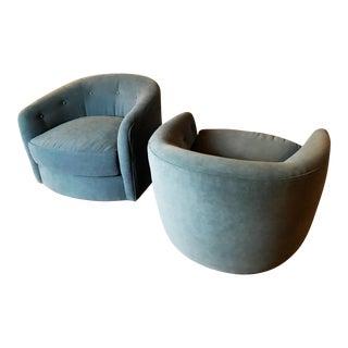 Milo Baughman for Thayer Coggin Walnut Based Swivel Tilt Chairs - a Pair
