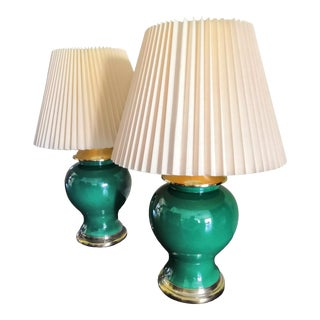 1960s Vintage Jade Green Ginger Jar Lamps - a Pair For Sale