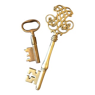 1970s Boho Chic Oversized Solid Brass Keys - Set of 2 For Sale