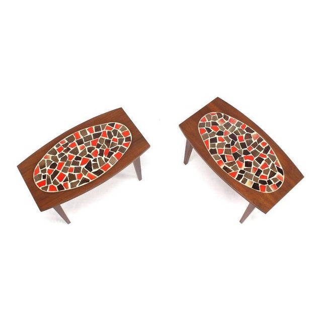 Mid-Century Modern Pair of Walnut and Tile Mosaic Side or End Tables For Sale - Image 3 of 8