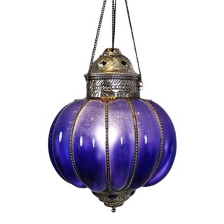 Vintage Blue Pumpkin Lantern For Sale