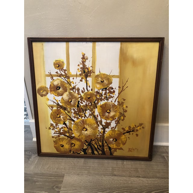 Yellow 1960s Mid-Century Style Floral Still Life Painting, Framed For Sale - Image 8 of 8