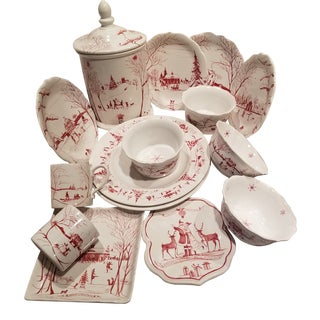Red and White Juliska Christmas Dishes 15 Pieces For Sale