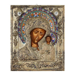 19th Century Russian Enameled Icon Madonna and Child For Sale